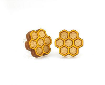 honeycomb stud wood earrings