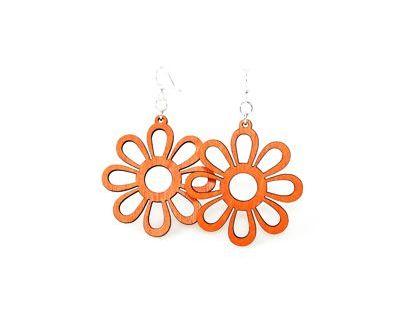 tangerine sunflower wood earrings