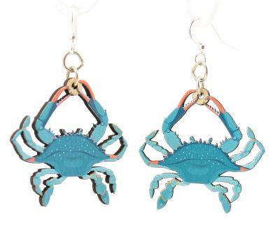 blue crab wood earrings