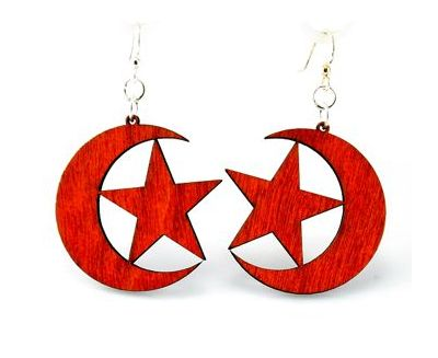 Red star & crescent wood earrings