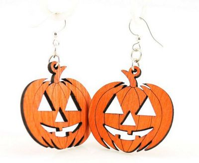 Jack o lantern wood earrings