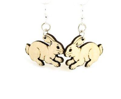 Natural wood bunny earrings