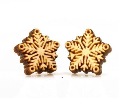 snowflake stud wood earrings