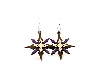 Layered star wood earrings