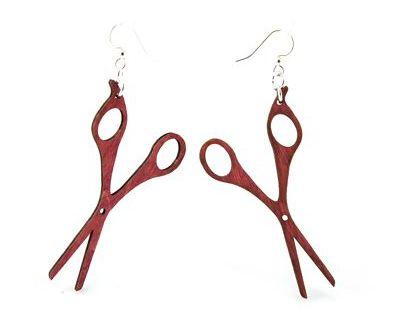 Red hair stylist scissor wood earrings