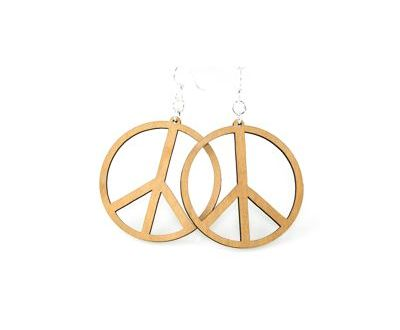 tan large peace sign wood earrings