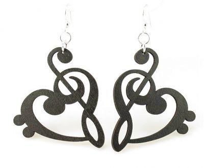 Treble Clef Black Heart Wood Earrings