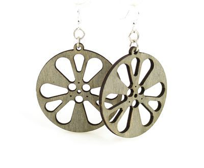 Gray film reel earrings