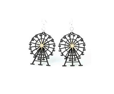 black satin ferris wheel wood earrings