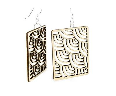 tan modern square wood earrings