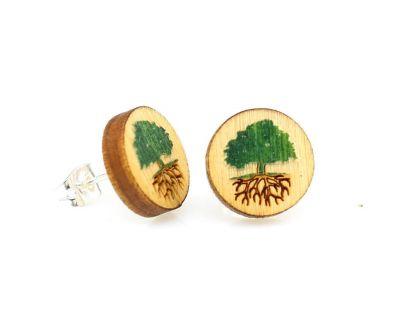 Green tree stud wood earrings