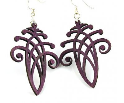 Purple acorn wood earrings