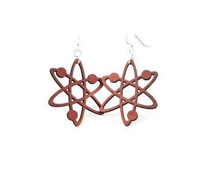 cherry red atom earrings