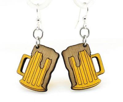 beer mug wood earrings