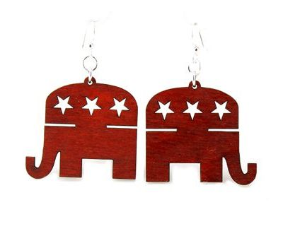 republican elephant wood earrings