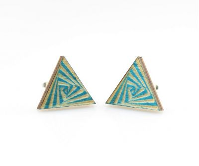 hippy triangle stud wood earrings