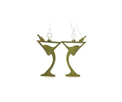 martini wood earrings