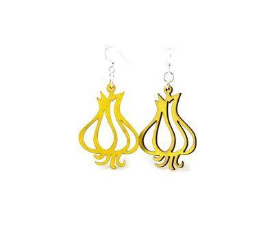 Yellow Garlic Clove Wood Earrings