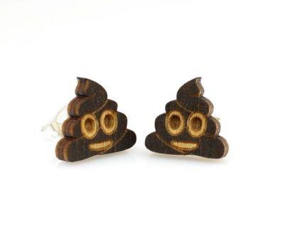 Poop emoji stud wood earrings