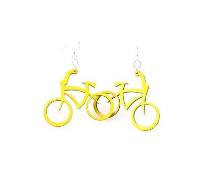 Yellow bicycle earrings
