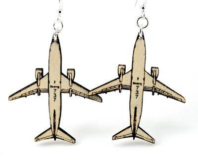 airplane wood earrings