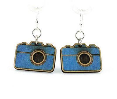 royal blue small camera wood earrings