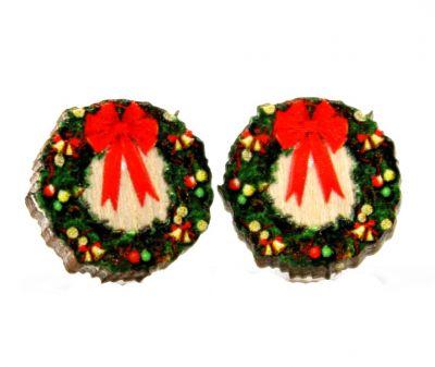 christmas wreath stud wood earrings