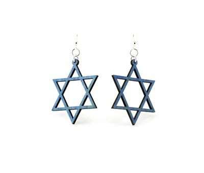 Blue jewish star wood earrings
