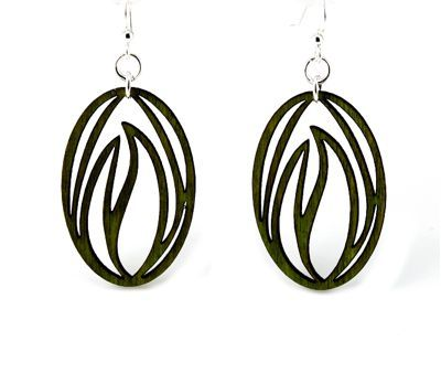 black grass blade wood earrings