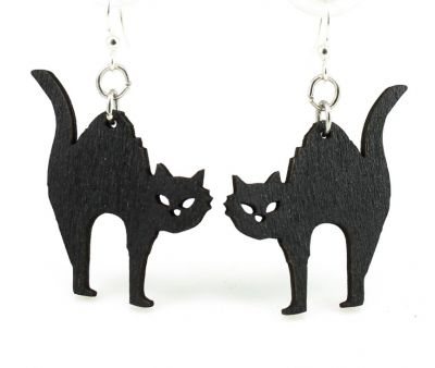 halloween cat wood earrings