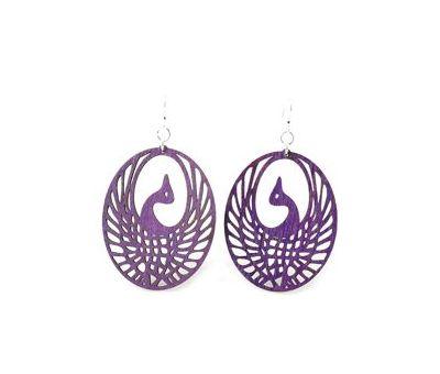 Purple Phoenix Wood Earrings