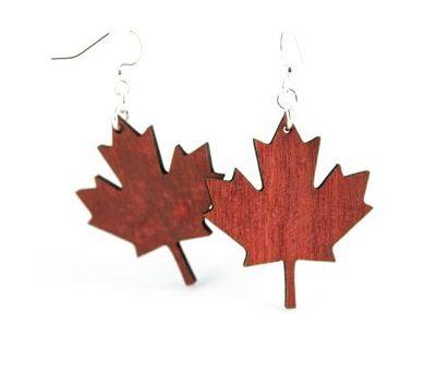 maple leaf wood earrings