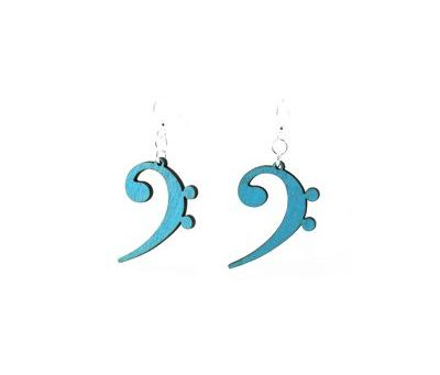 aqua marine bass clef wood earrings