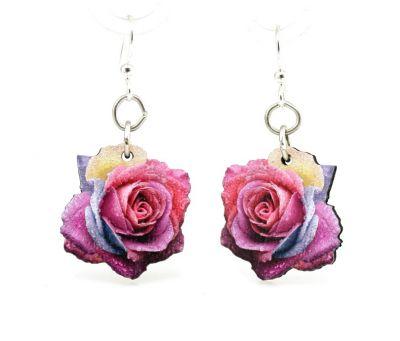 multi color rose blossom wood earrings