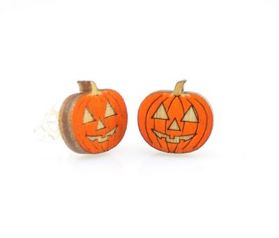 pumpkin stud wood earrings