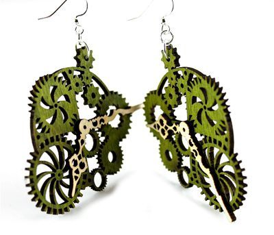 Green gear clock wood earrings