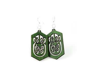 kelly green celtic rectangle earrings