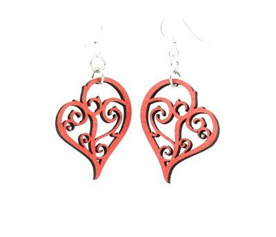 Tangerine Heart in vines wood earrings
