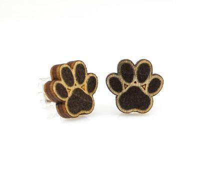 Puppy paw stud wood earrings