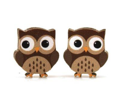 owl stud wood earrings