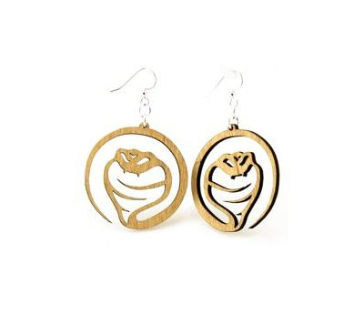 Tan cobra snake wood earrings