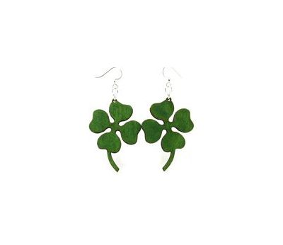 kelly green four leaf clover earrings