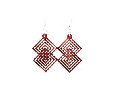 Cherry red interlocking diamond wood earrings