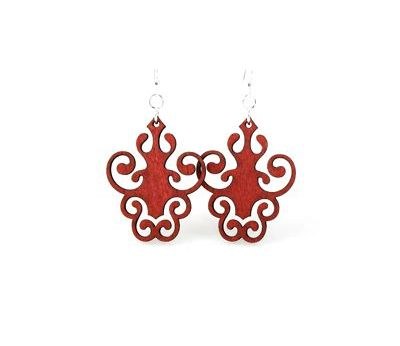 cherry red iron lamp design earrings