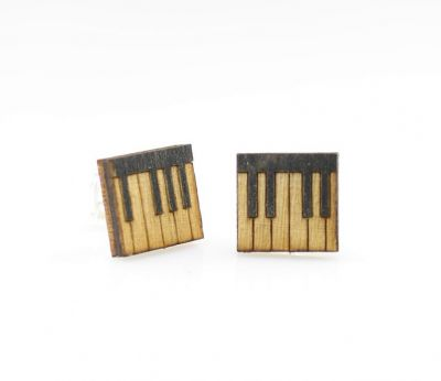 Piano key stud wood earrings