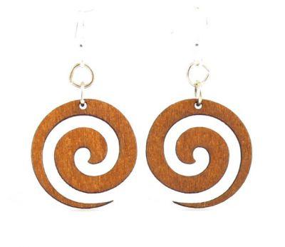 Spiral blossom wood earrings