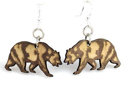 california bear wood earrings