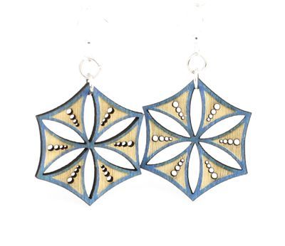 aqua marine ice crystal wood earrings