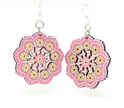 spring mandala wood earrings