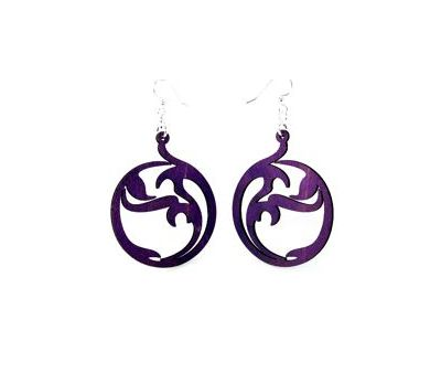 circle art wood earrings
